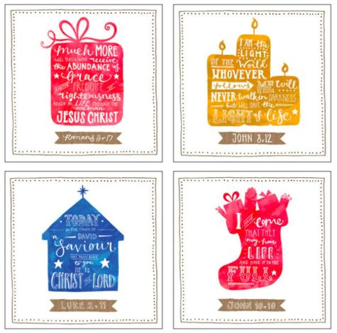 Bible Verses Christmas Cards [Pack of 12] by Laura Jonas