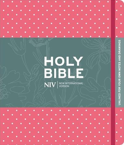 NIV Pink Polka Dot Journalling Bible with Unlined Margins by